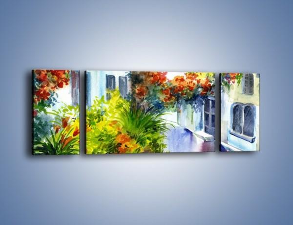 Obraz na płótnie – Widok z okien na kwiaty – trzyczęściowy GR165W5