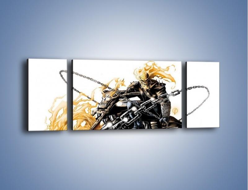 Obraz na płótnie – Mroczna postać na motorze – trzyczęściowy GR167W5
