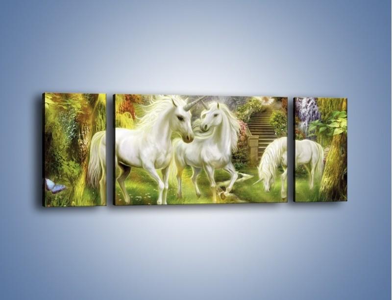 Obraz na płótnie – Jednorożce w krainie czarów – trzyczęściowy GR173W5
