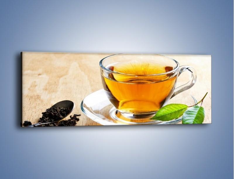 Obraz na płótnie – Listek mięty dla orzeźwienia herbaty – jednoczęściowy panoramiczny JN290