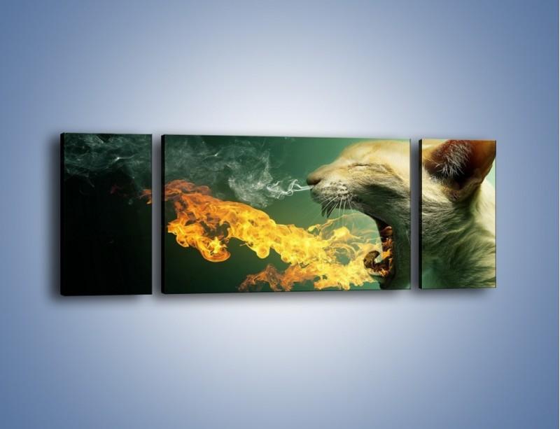 Obraz na płótnie – Kot z gorącym oddechem – trzyczęściowy GR180W5