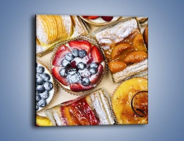 Obraz na płótnie – Kolorowe wypieki z dodatkiem owoców – jednoczęściowy kwadratowy JN032