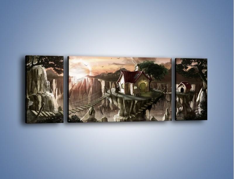 Obraz na płótnie – Domki nad przepaścią – trzyczęściowy GR283W5