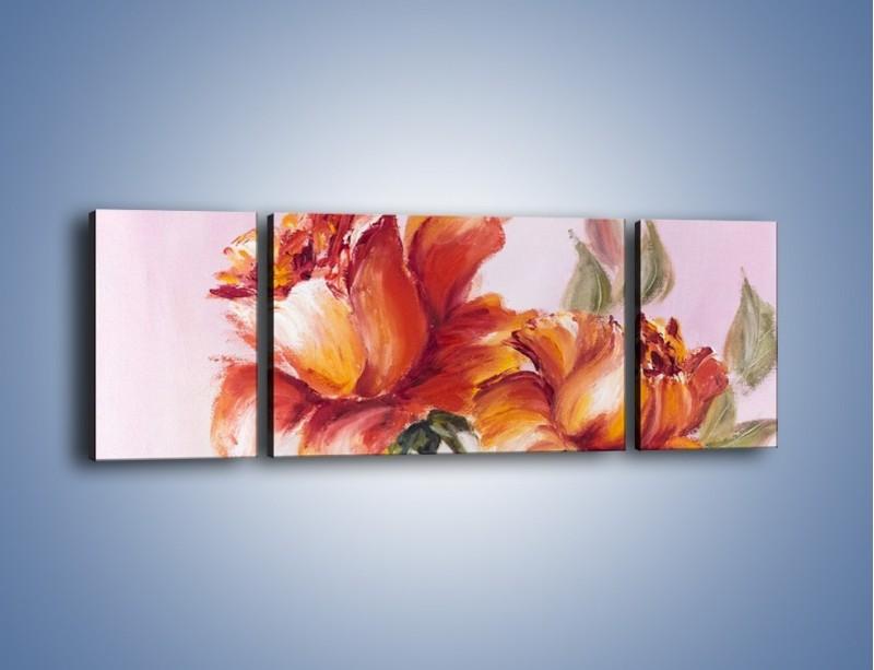 Obraz na płótnie – Kwiaty na płótnie malowane – trzyczęściowy GR322W5