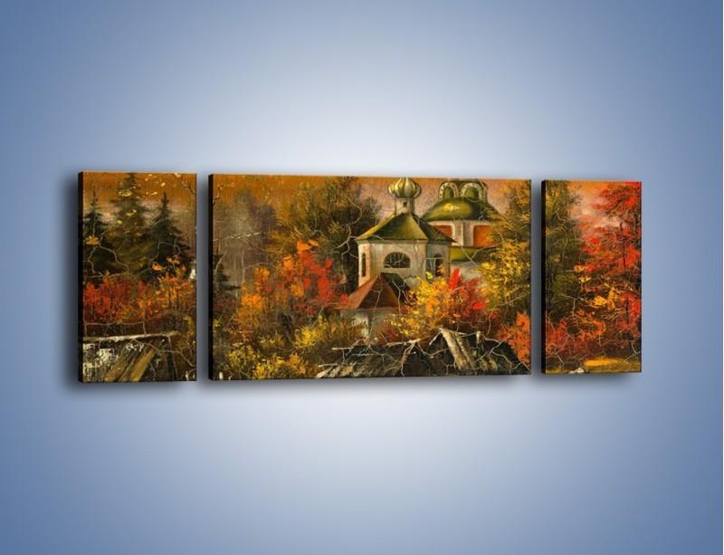 Obraz na płótnie – Kaplica późną jesienią – trzyczęściowy GR369W5