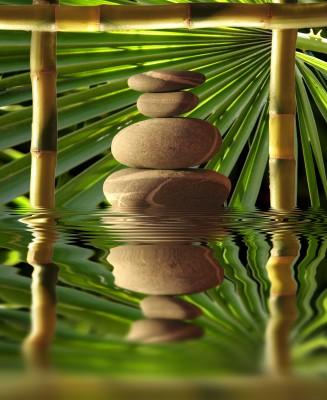 Kamień w bambusowym okienku - O068