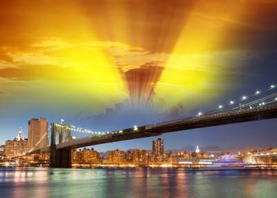 Most Brookliński o zachodzie słońca - AM535