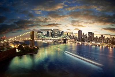 Oświetlony most w Nowym Jorku - AM066