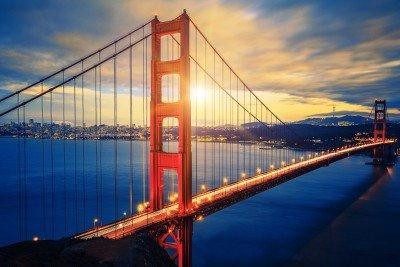 Zachód słońca nad Mostem Golden Gate - AM738